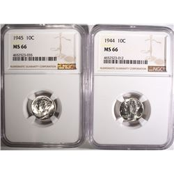 1944 & 1945  MERCURY  DIMES NGC MS66