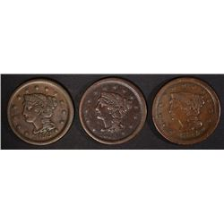 3 VF+ LARGE CENTS: 1853, 1854 & 1855