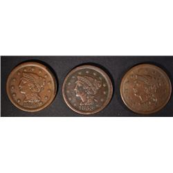 3 LARGE CENTS: 1851 VF+, 1853 VF & 1850 VF/XF