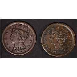 1852 & 1853 VF/XF LARGE CENTS