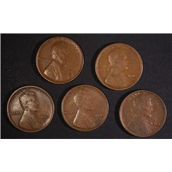 5-1913-S LINCOLN CENTS, VF