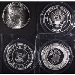 TRUMP, ARMY, NAVY & MARINES 1oz .999 SILVER ROUNDS