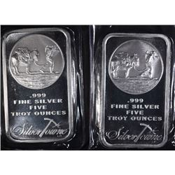 2-FIVE OUNCE .999 SILVER BARS-SILVERTOWNE