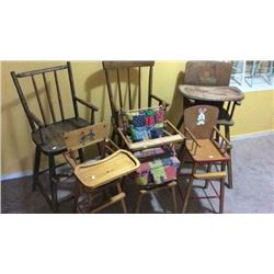 6 Antique High Chairs
