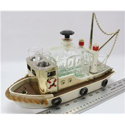 VINTAGE BOAT TRAWLER CRYSTAL MUSIC DECANTER SET