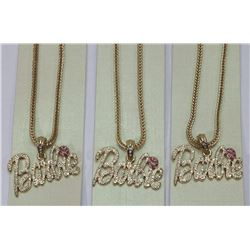 LOT OF 3 BARBIE PENDANTS ON CHAINS