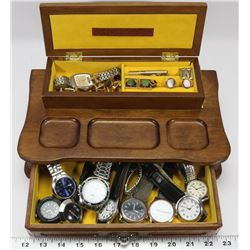 ESTATE MENS VALET BOX WITH CONTENTS.
