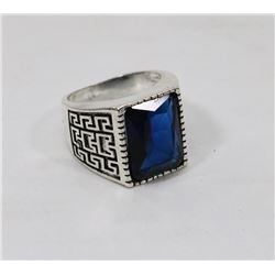 VINTAGE STYLE SILVER AND BLACK TONE BLUE CRYSTAL