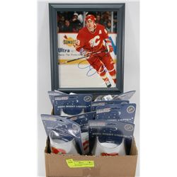 LOT OF 12 CALGARY FLAMES NIGHT LITES AND SIGNED
