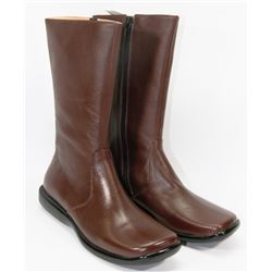 NEW LADIES BROWN ZIP-UP BOOTS SIZE 6