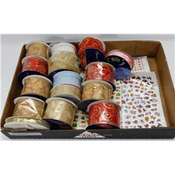 CRAFT LOT SPOOLS OF RIBBON , STICKERS