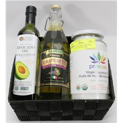 BASKET OF GOURMET OILS INCL COCONUT, AVOCADO AND