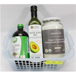 BASKET OF GOURMET OILS INCL HEMP, COCONUT AND