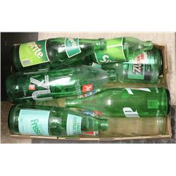 FLAT OF VINTAGE BOTTLES INCLUDING PEPSI, SPRITE,