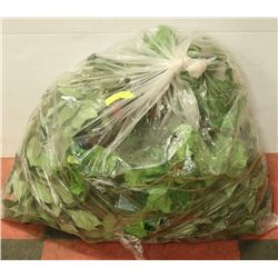 BAG OF ARTIFICIAL FOLIAGE AND SMALL WICKER WREATH