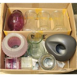 BOX WITH 10 LARGE GLASS & CERAMIC VASES.