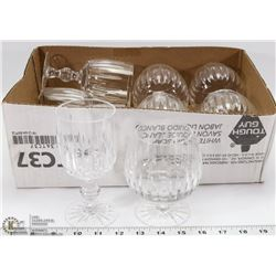 SET OF 10 CRYSTAL WINE AND BRANDY GLASSES