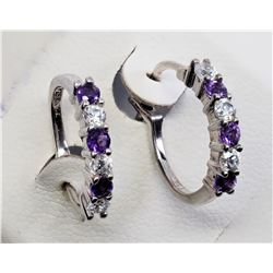 #6-STERLING SILVER AMETHYST EARRINGS