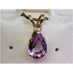 #7-10KT YELLOW GOLD GENUINE AMETHYST