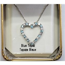 #8-STERLING SILVER BLUE TOPAZ HEART