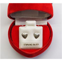 #9-STERLING SILVER HEART SHAPED EARRINGS