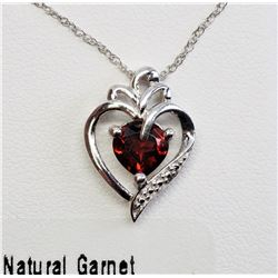 #13-STERLING SILVER NATURAL GARNET HEART