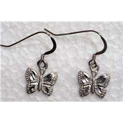 #14-STERLING SILVER BUTTERFLY PENDANT EARRINGS