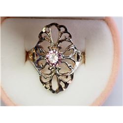 #16-STERLING SILVER PINK CUBIC ZIRCONIA RING