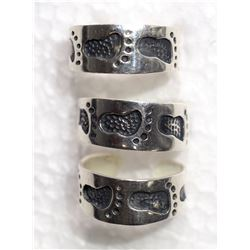 #24-3 STERLING SILVER RINGS WITH FOOT DESIGN