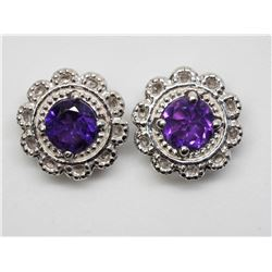 #39-STERLING SILVER 2 IN 1 AMETHYST STUD