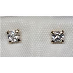 #40-14KT GOLD CUBIC ZIRCONIA STUD EARRINGS