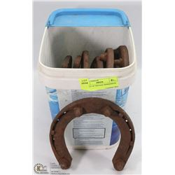 BUCKET OF VINTAGE HORSESHOES