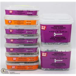 9 TUBS OF ASSORTED FASTENERS INCLUDING