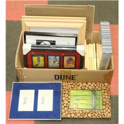 BOX OF VARIOUS SIZED PICTURE FRAMES, SOME WITH