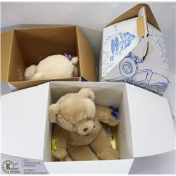 LOT OF 3 BUILD-A-BEARS WITH DOCUMENTS & BOXES.
