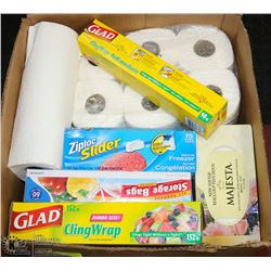 ESTATE BOX OF FACIAL TISSUE, PAPER TOWEL, BAGS,