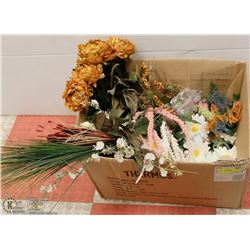 LARGE BOX OF ARTIFICIAL FLOWERS & GREENERY.