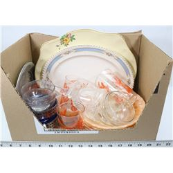 "LARGE BOX WITH COLLECTIBLES ""CARNIVAL GLASS"""