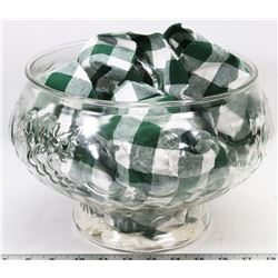 LARGE GLASS PUNCH BOWL WITH CUPS.