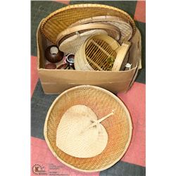 ESTATE BOX OF WICKER ITEMS