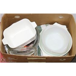 ESTATE BOX OF CORNINGWARE AND OTHER GLASS SERVING/