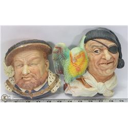 FLAT OF 2 LARGE VINTAGE BOSSON HEADS