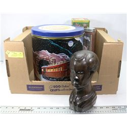LOT WITH COLLECTIBLE TINS AND CARVED WOOD BUST