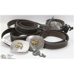 LOT OF 5 NEW CHAMBER LEATHER BELTS WITH RODEO