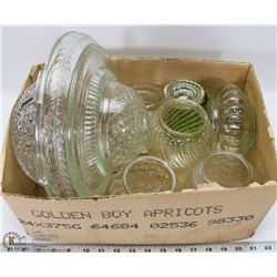 2) BOX WITH 9 CLEAR DEPRESSION GLASS LIGHT SHADES