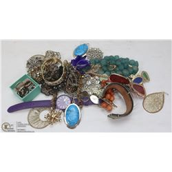 FLAT ASSORTED FASHION JEWELRY.