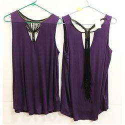 2 FRINGE TANKTOPS NEW WITH TAGS - PURPLE