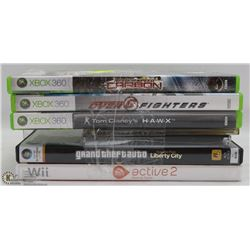 ASSORTED XBOX 360 GAMES, X6 WII ACTIVE PERSONAL