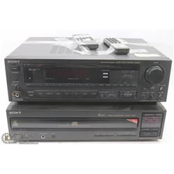 SONY AUDIO/VIDEO AMP WITH REMOTE AND 5 DISC PLAYER