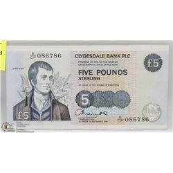 CLYDESDALE BANK PLC £5 NOTE